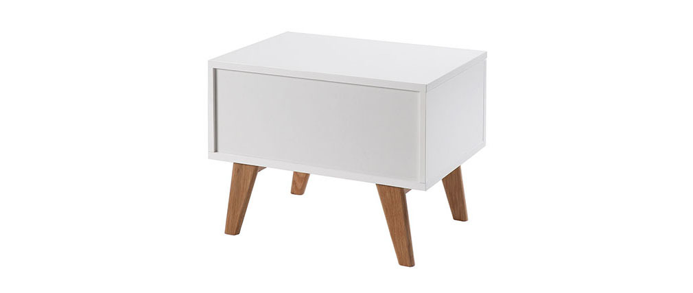 MELKA Scandinavian Style Glossy White and Ash Bedside Table