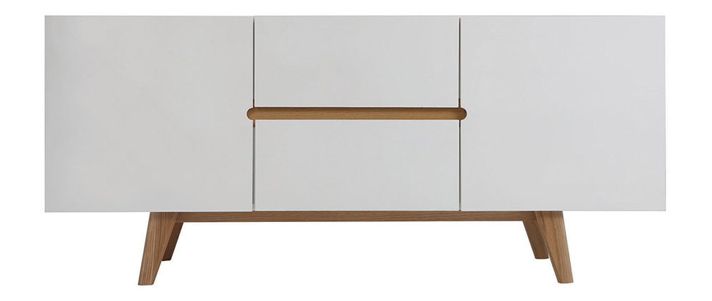MELKA Scandinavian Style Glossy White and Ash Sideboard 160cm