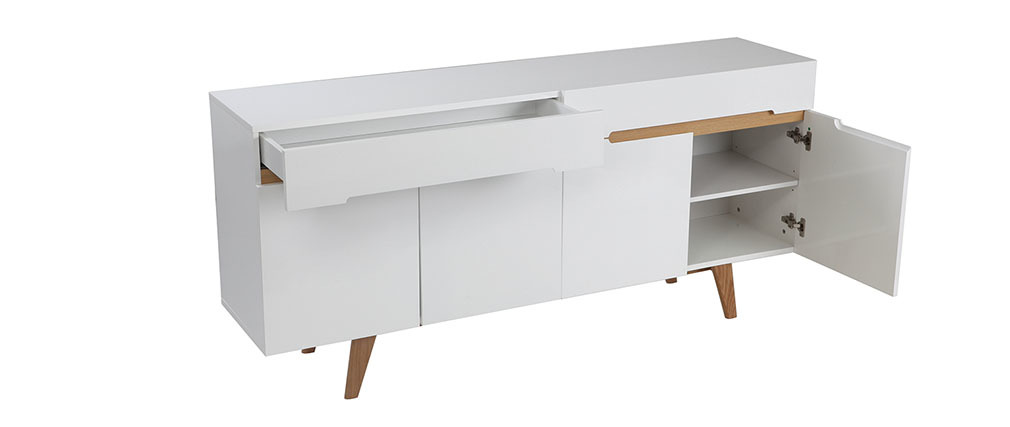 Melka Scandinavian Style Glossy White And Ash Sideboard