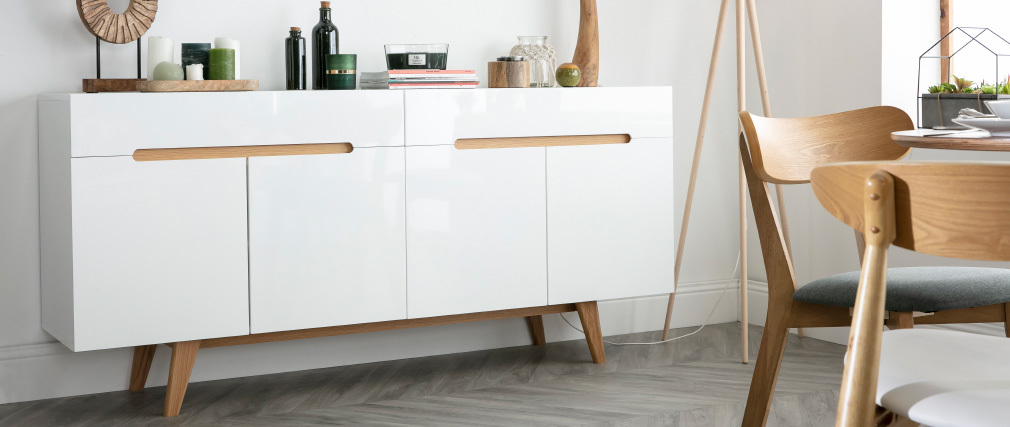 MELKA Scandinavian Style Glossy White and Ash Sideboard 180cm