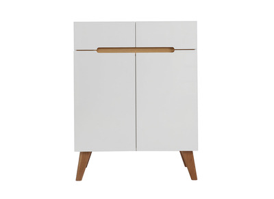 MELKA Scandinavian Style Glossy White and Ash Sideboard 80cm