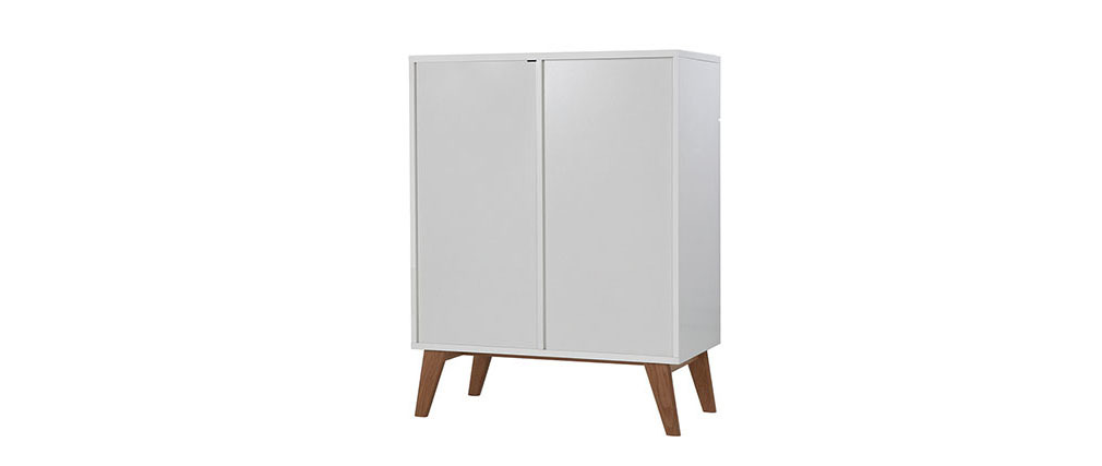 MELKA Scandinavian Style White and Ash Sideboard 80cm