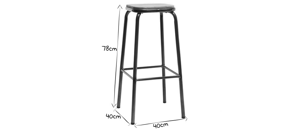 MEMPHIS set of 2 designer bar stools in stainless steel and light wood 75cm
