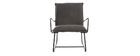 MERCY armchair in anthracite grey PU and black metal frame