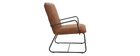 MERCY armchair in brown PU and black metal frame
