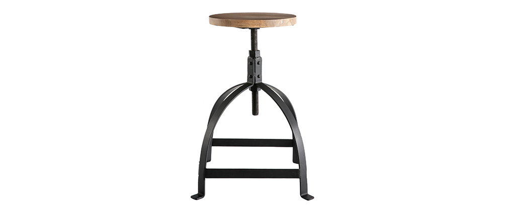 Metal and wood H65cm INDUSTRIA stool