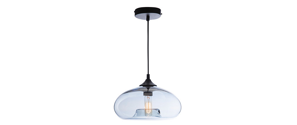 MISTIC blue transparent blown glass pendant lamp