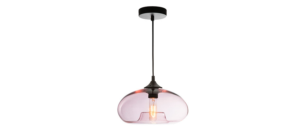 MISTIC pink transparent blown glass pendant lamp