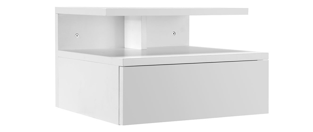 MITSY Glossy White Modern Bedside Table