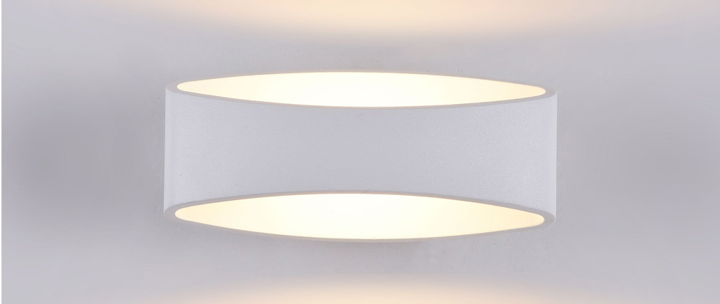MODE designer outdoor oval-shaped white metal wall lamp