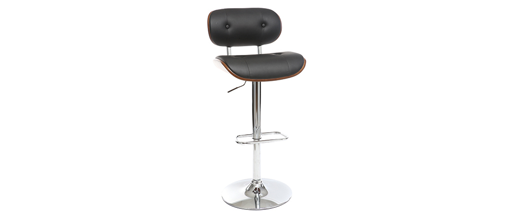 Modern bar stool PU black and dark wood MARTY
