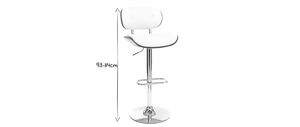 Modern bar stool PU white and dark wood MARTY