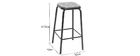 Modern barstool black and dark wood 65cm, set of 2 MEMPHIS