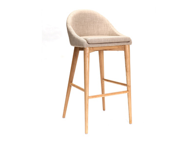 Modern Beige Polyester and Wood High Bar Stool 75 cm DALIA