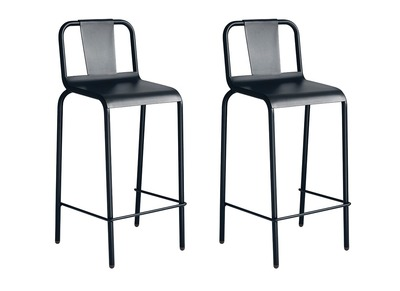 Modern Black Aluminium Garden Stool Chair (65cm) RHODES (set of 2)