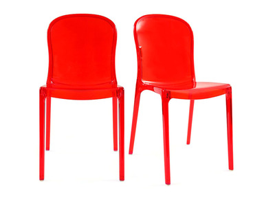 Modern Chairs Transparent Red Polycarbonate THALYSSE (set of 2)