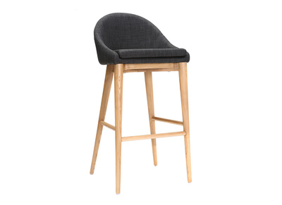 Modern Charcoal Grey Polyester and Wood High Bar Stool 75 cm DALIA