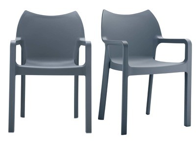 Modern Garden Armchairs ALTESS Smoked Grey Set of 2