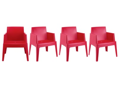 Modern Garden Armchairs LALI - Red Set of 4