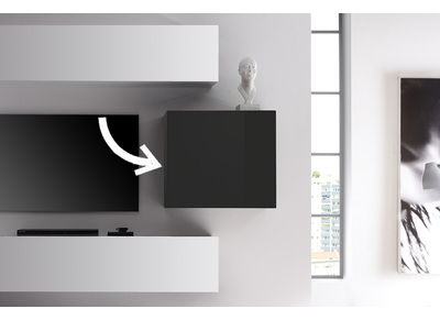Modern Glossy Charcoal Grey Square Wall Unit COLORED