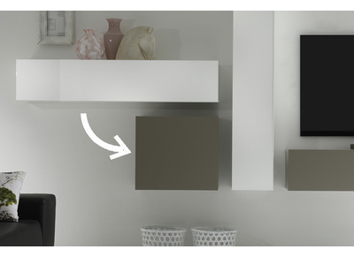 Modern Matt Taupe Grey Square Wall Unit COLORED