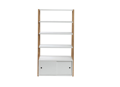 Modern Matt White and Wood Bookcase STOKA