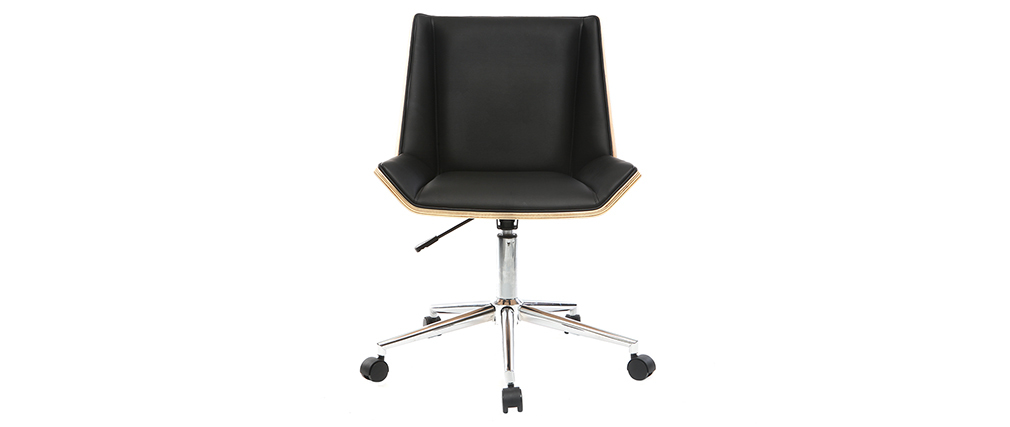 Modern office chair PU black and light wood MELKIOR