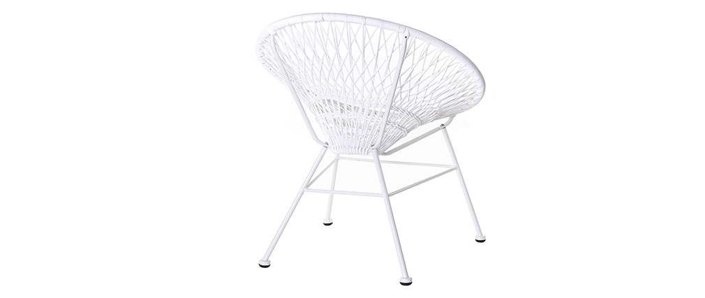 Modern outdoor armchair in white resin wire ARANGO