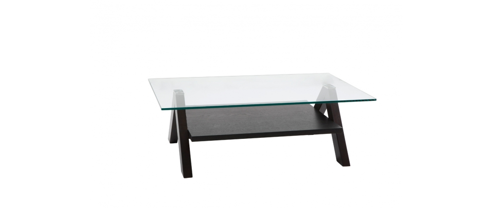 Modern Rectangular Coffee Table Bailey Colour Wenge With Tempered Glass Table Top Miliboo