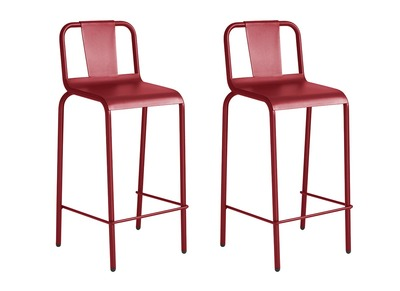 Modern Red Aluminium Garden Stool Chair (65cm) RHODES (set of 2)