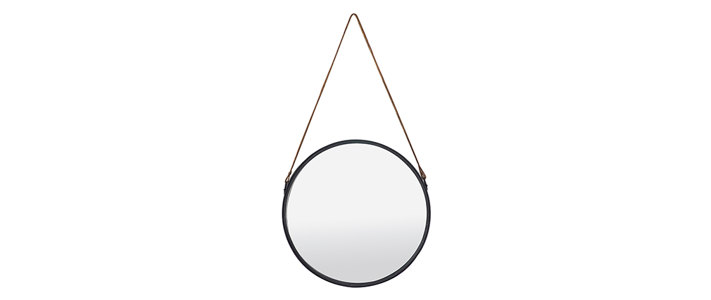 Modern round black metal mirror 40cm KARL