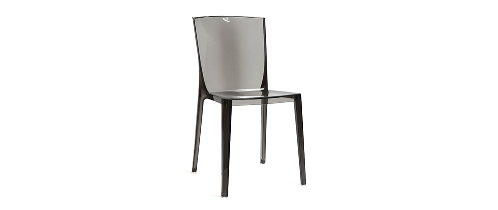 Modern set of 2 transparent smoke grey chairs ISLAND
