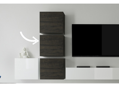 Modern Wenge Square Wall Unit COLORED