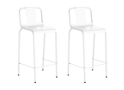 Modern White Aluminium Garden Stool Chair (76cm) RHODES (set of 2)