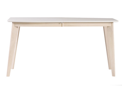 Modern White and Light Wood Extending Dining Table LEENA (150cmx50cm)
