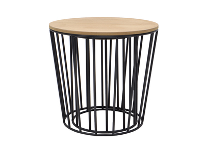 Modern Wood and Black Cage Base Side Table CYCLOS (set of 2)