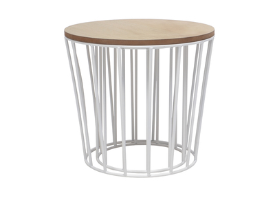 Modern Wood and White Cage Base Side Table CYCLOS (set of 2)