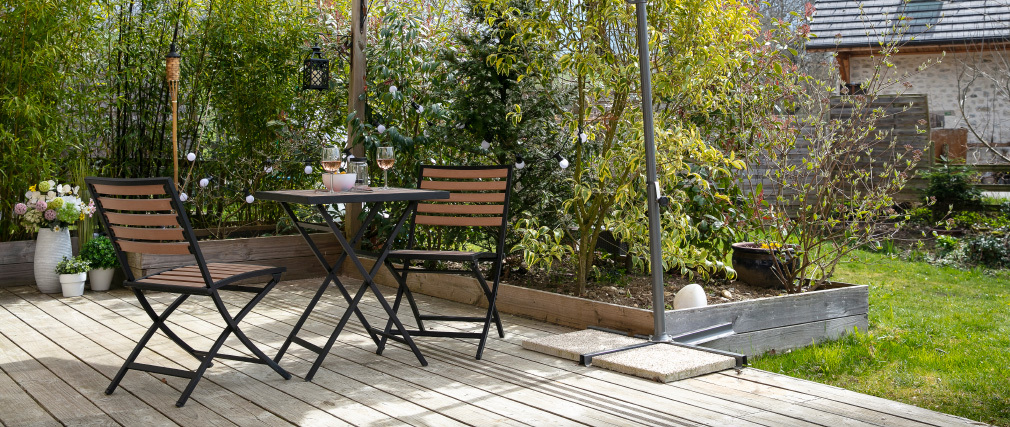 MOJITO folding garden set with 2 chairs and table in black and wood