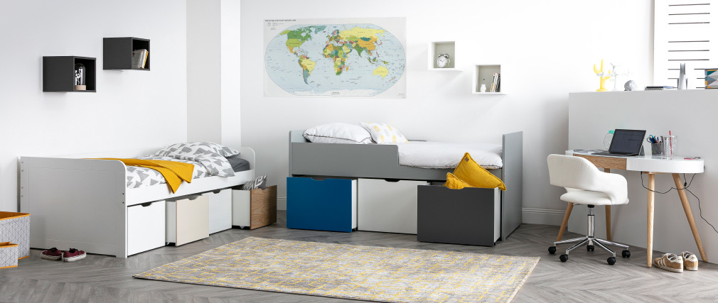 MOLENE wood and white children?s bed with 4 storage drawers