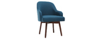 MONA blue designer armchair with dark wooden legs
