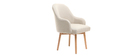 MONA cream designer armchair with light wooden legs