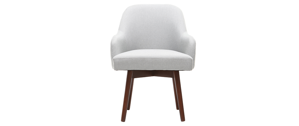 MONA grey designer armchair with dark wooden legs