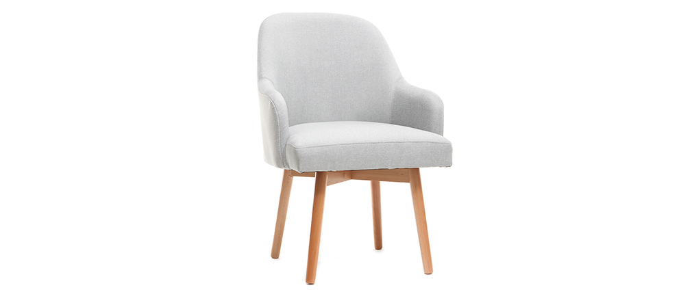 MONA grey designer armchair with light wooden legs