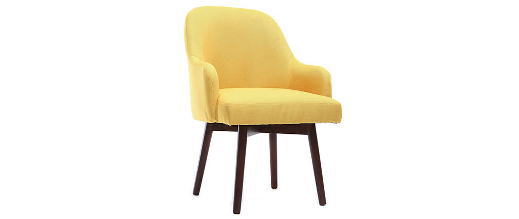 MONA yellow designer armchair with dark wooden legs