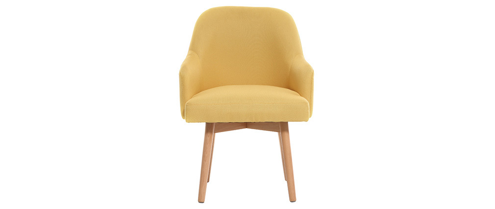 MONA yellow designer armchair with light wooden legs