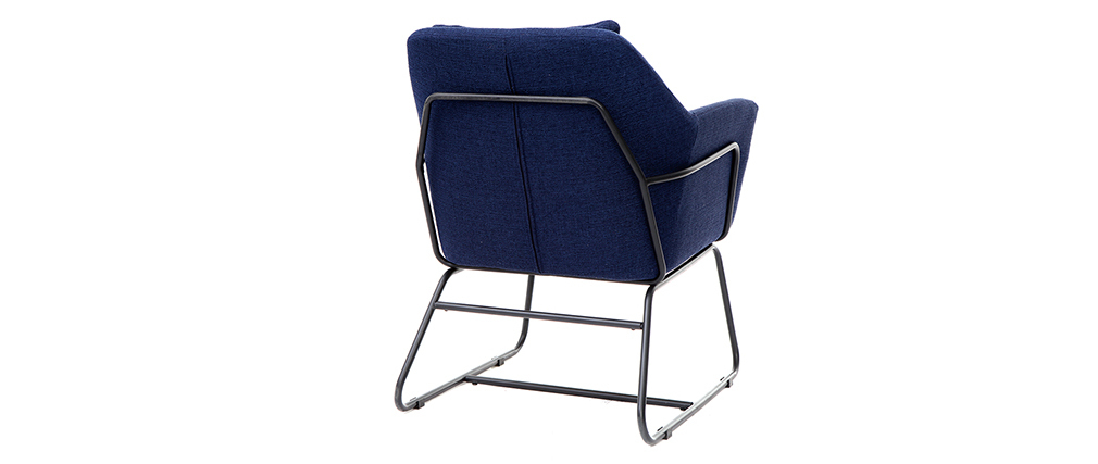 MONROE designer armchair in dark blue fabric and black metal frame