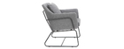 MONROE designer armchair in dark grey fabric and black metal frame