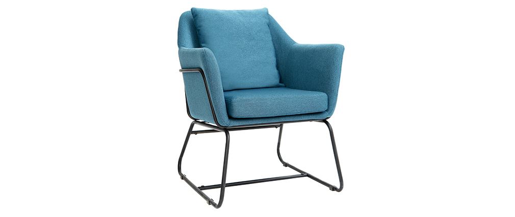MONROE designer armchair in teal fabric and black metal frame