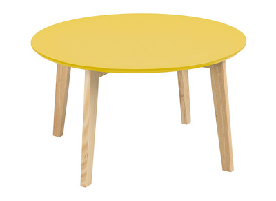 Mustard Yellow Modern Coffee Table Round SARA 80 cm