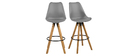 NADJA set of 2 designer dark grey and wood bar stools
